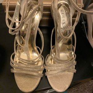 Guess Gold Heels Size 10